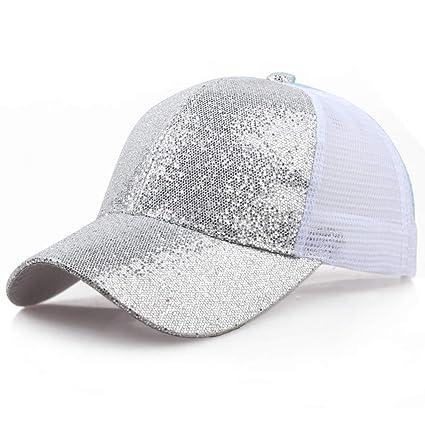 1e733a4a94891 Amazon.com  Quaanti Clearance Price!Women Girl Ponytail Baseball Cap  Sequins Shiny Messy Bun Snapback Hat Sun Caps 🔥 (Silver)  Arts
