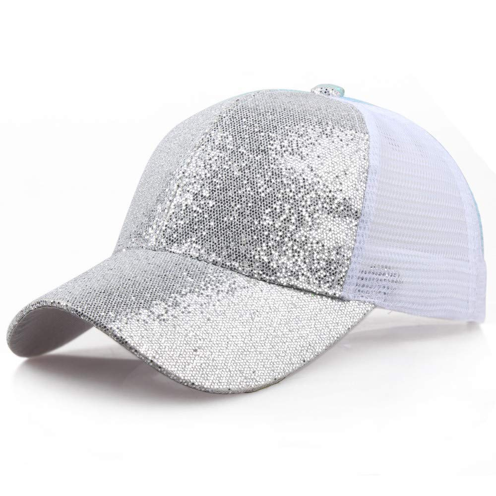 Women Girl Ponytail Baseball Cap Sequins Shiny Messy Bun Snapback Hat Sun Caps Silver