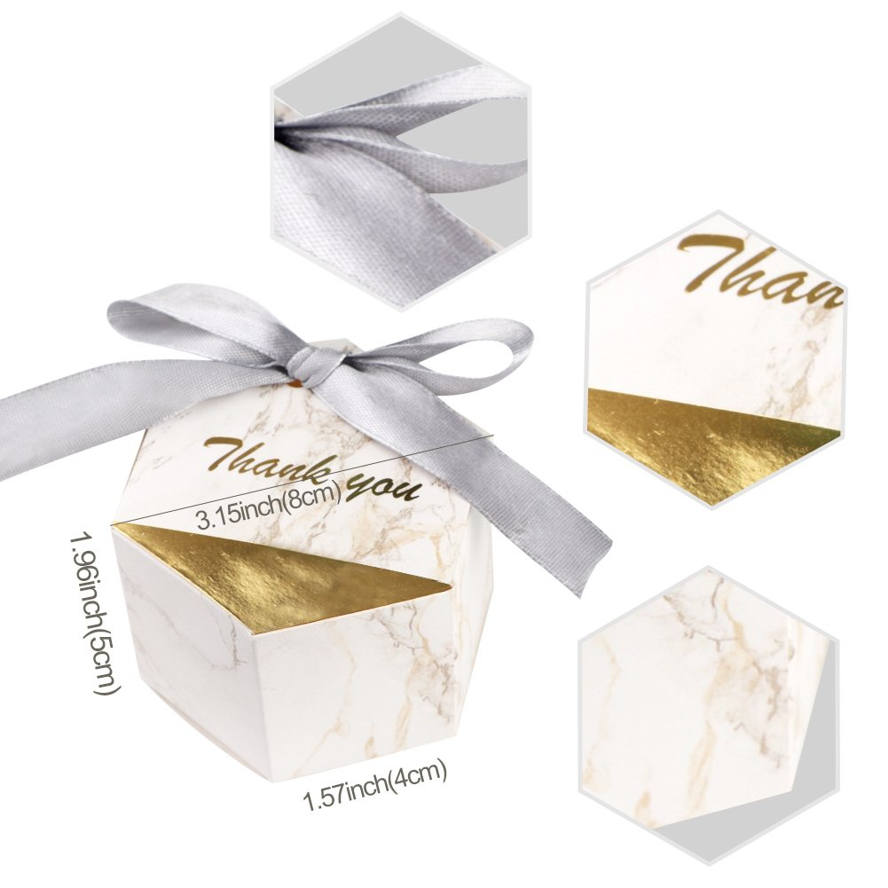 Amazon.com: AerWo 50pcs Marble Favor Boxes, Silver Wedding Favor ...