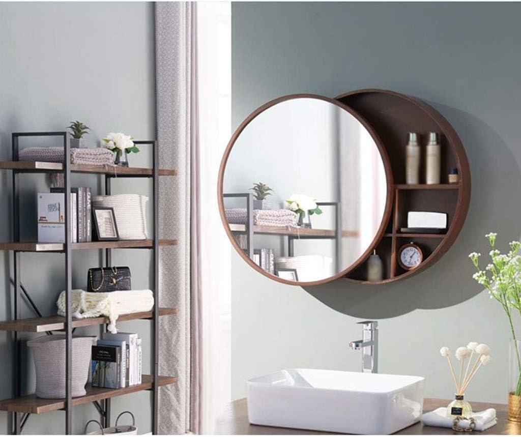 Zxcv Bathroom Cabinet Mirror Wall Mounted Modern Storage Cupboard Round Mirror Bathroom Mirror Cabinet Sliding Locker Walnut Wood Wall Mounted Amazon Co Uk Kitchen Home