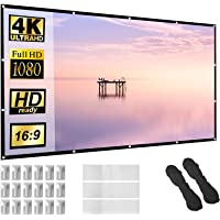 Projector Screen 150 inch 16:9 HD Foldable Anti-Crease Portable Projection Movies Screen for Home Theater Outdoor Indoor…
