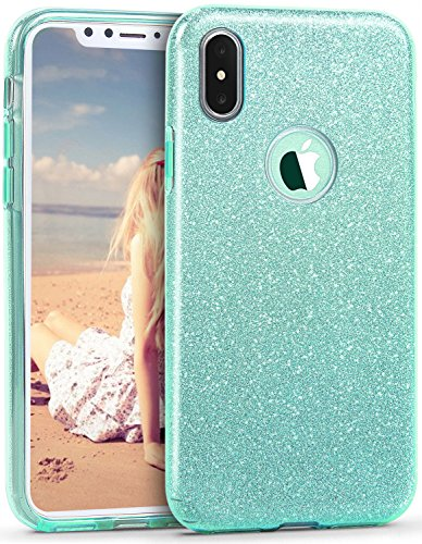 Cover Case Crystal Diamond Hard (iPhone X Case, Imikoko™ Fashion Luxury Protective Hybrid Beauty Crystal Rhinestone Sparkle Glitter Hard Diamond Case Cover For iPhone X (Green))