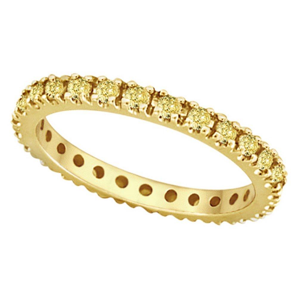 Fancy Yellow Canary Diamond Eternity Ring Band 14K Yellow Gold (0.51ct) by Allurez (Image #1)