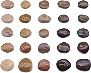 BigOtters Engraved Inspirational Stones,25 Different Words Encouragement Stones Amulets Gift Stones for Friends and Family