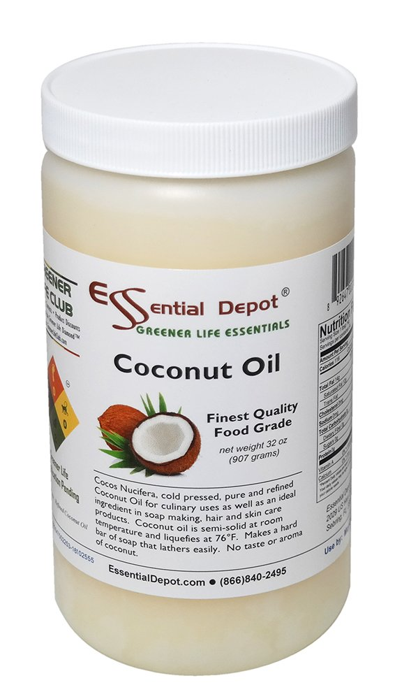 Coconut Oil - 1 Quart - 32 oz - Food Grade - safety sealed HDPE container with resealable cap by Essential Depot