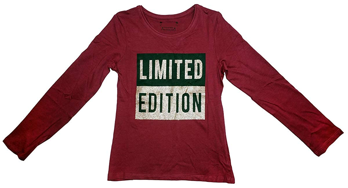 Girls Glitter Sparkle Limited Edition Long Sleeve T-Shirt Cotton Top Sizes from 7 to 15 Years