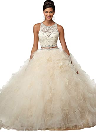2a7a39e4f9b ANGELA Women s Lace Crop Top Long 2 Piece Quinceanera Dresses Ball Gown  Prom Party Dress Champagne