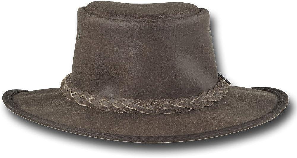 Barmah Hats Foldaway Crackle Saddler Leather Hat 1063BR