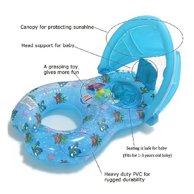 Anillo de natación de la madre y del bebé con el toldo inflable de la sombrilla de la seguridad desprendible, juguete del anillo de la natación de la ...