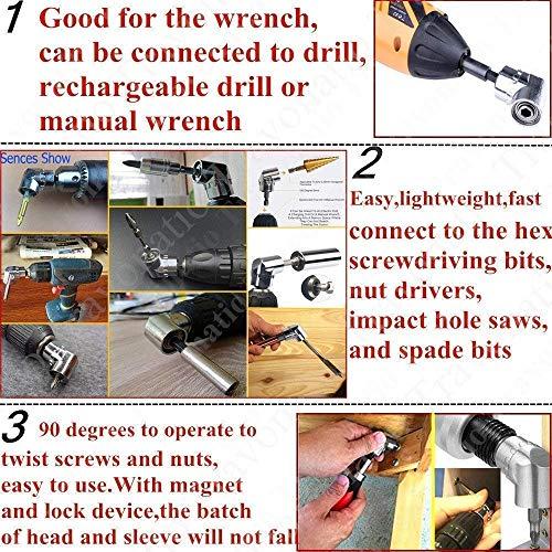 Extension Drill Bit,3//8 Socket Adapter,1//2 Extension Socket,Hex Shank Bit Socket Wrench Set,Impact Grade Socket Adapter Nut Driver Set+105 Degree Right Angle Drill Attachment Bit,1//4 Bits for Impact