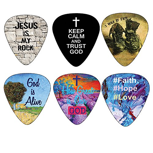 Christian Guitar Picks - 12 pack - Bible Inspirational Messages - Celluloid Medium by NewEights Best Gift for...