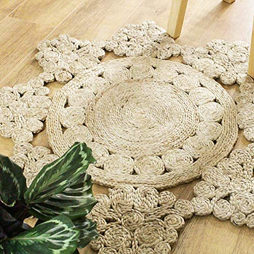 Round Jute Area Rug Woven Golden Butterfly 3 Feet, Natural