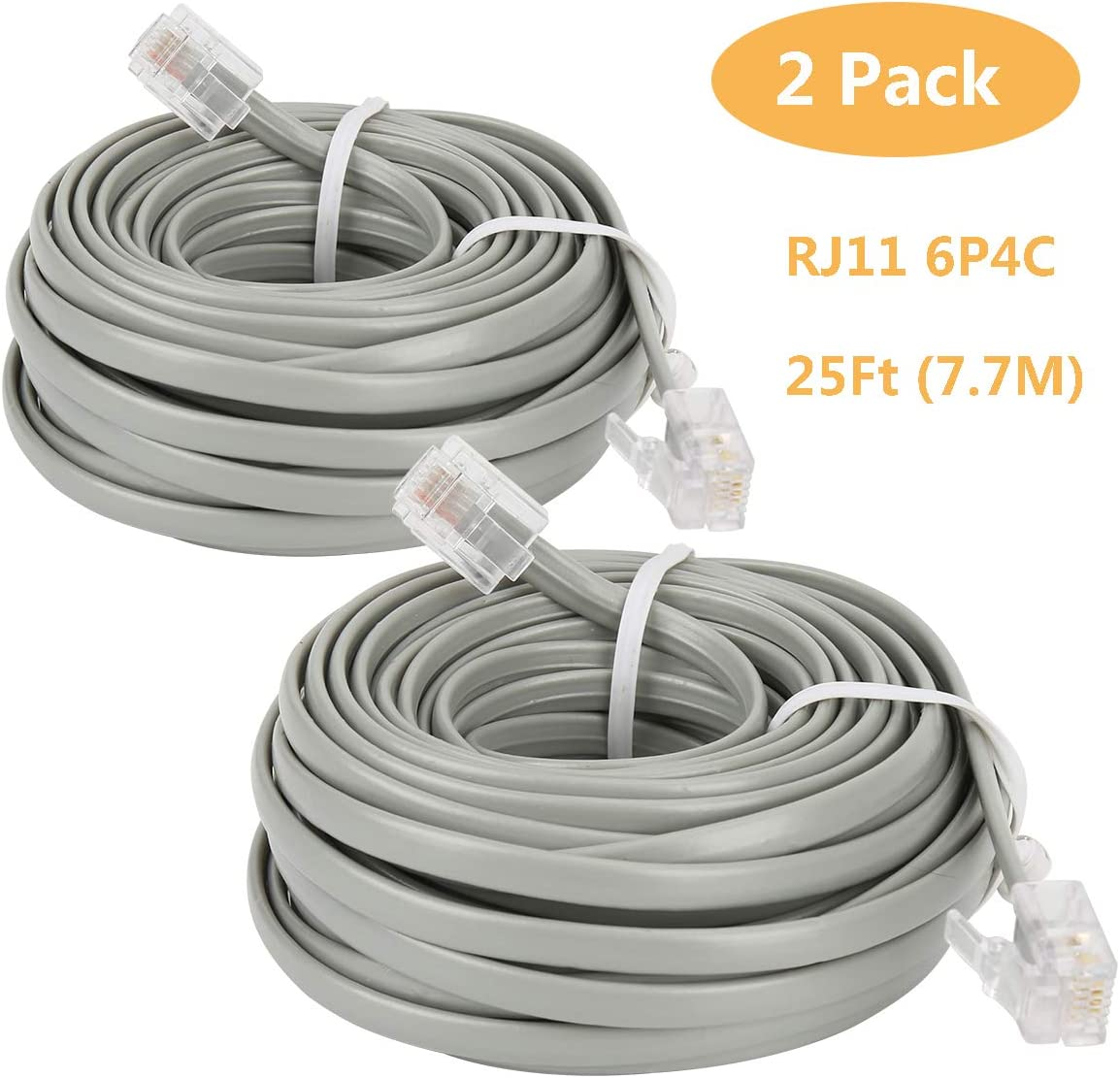 White 7.7M,1Pack Uvital 25 Feet Telephone Landline Extension Cord Cable Line Wire with Standard RJ-11 6P4C Plugs