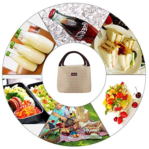 OZCHIN Insulated Lunch Bag for Women Compact Reusable Lunch Tote Cooler Bag Handbag for Adults Kids Students (Creamy Beige) by OZCHIN (Image #6)