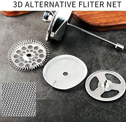 フレンチプレスポット 304ステンレス鋼のコーヒーポットを押してポットダブル層断熱フィルタープレスティー フレンチプレスコーヒーメーカー (色 : Silver, Size : 1000ml)