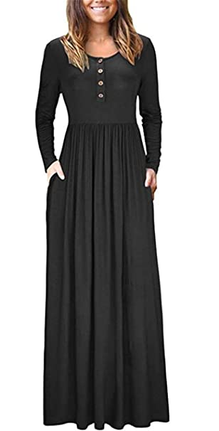 bddc2b8f165 UGET Women Long Sleeve Loose Plain Button Down Maxi Dresses Casual Long  Dresses with Pockets at Amazon Women s Clothing store