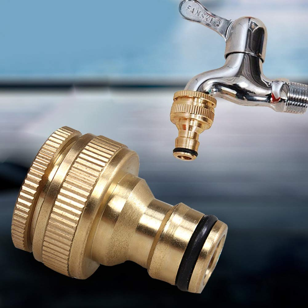 Tap Connector Maserfaliw 1/2 3/4inch Brass Thread Garden Faucet Hose Water Pipe Connector Fitting Adaptor - Golden, Housewares, Offices, Outdoor, Holiday Gifts.