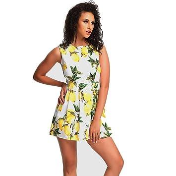 smileq verano mujeres décontracté vestido limón impresión sin mangas moulante occasionnel cóctel Mini Skater playa falda
