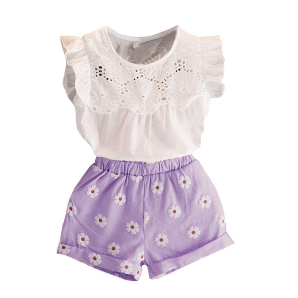 Happy Town 2PCS Set Toddler Kids Baby Girls Outfits Clothes T-Shirt Vest Tops+Shorts Pants(2-6 T) (Purple, 5 T)