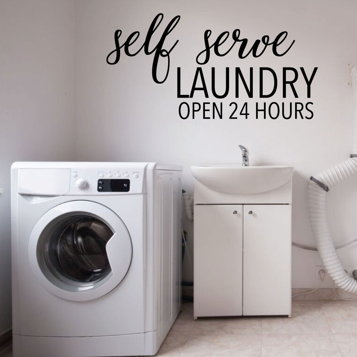 Amazon Com Laundry Room Wall Decal Self Serve Open 24 Hours Fun Vinyl Sign Art For Home Decoration Handmade