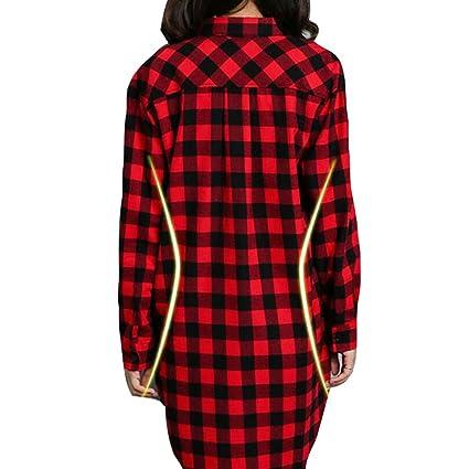 Camisa Cuadros Mujeres Largo - Blusas Manga Larga Tshirts Tartán Tops Irregulares Camiseta Abrigo Delgado Negro Rojo Gris Verde 7 Colores S-2XL Yying: ...