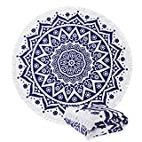 Great Bay Home Round Tribal Beach Towels. 60' Round. 100% Zero Twist Cotton. Multi-Purpose, Durable, Absorbent Towels for Bathroom, Pool, or Beach (Tribal)