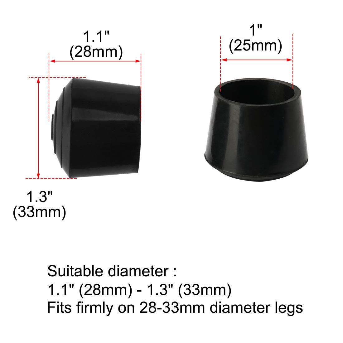 uxcell 5pcs Chair Leg Tips Caps 32mm 1 1//4 Inch Anti Slip Rubber Furniture Table Feet Cover Floor Protector Reduce Noise Prevent Scratches