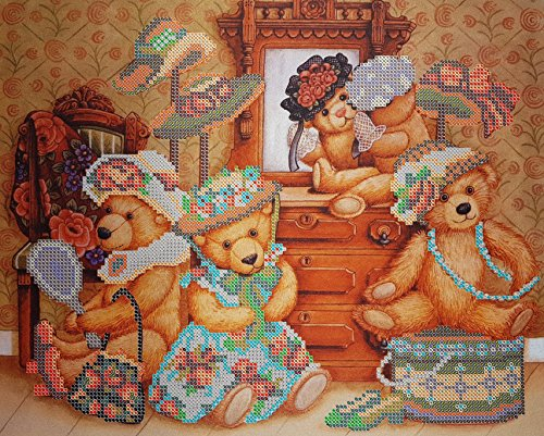 (Bead Embroidery DIY kit Teddy Bears and Toys Beaded Cross Stitch Needlepoint Handcraft Tapestry kit Nursery Decor Children Embroidery)