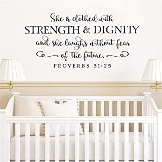 Vinly Art Decal Words Quotes She Is Clothed In Strength And Dignity For Nursery Kids Room Girls Room
