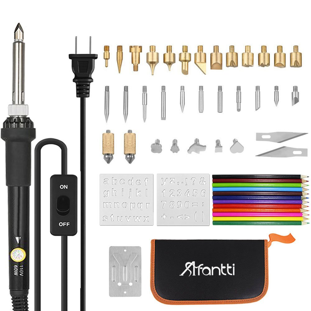 Afantti 50 Pcs Adjustable Wood Burning Pen Tool Kit Set Professional Pyrography Burner Electric for Adult Starter Beginners Leather Creative Craft with Case | 33xTip | 2xStencil | 12x Color Pencil