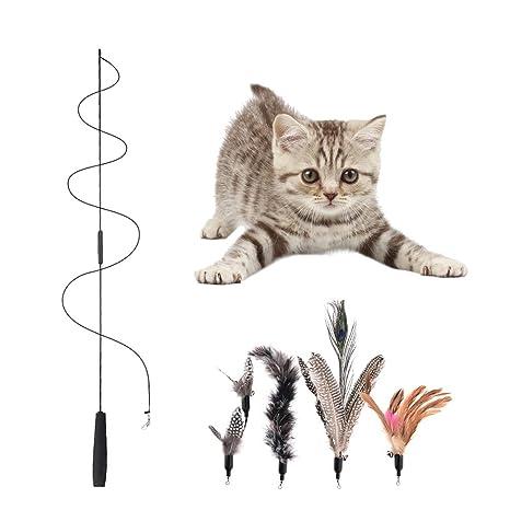 Yunt gato juguete Set Parte Angel Inter activo ajustable con plumas naturales de mariposa juguete con