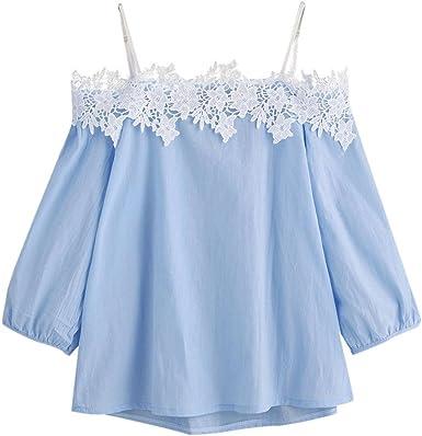 Fossen 2018 Verano Mujer Blusas de Encaje Camisetas con Hombros Descubiertos Tops de Tirantes: Amazon.es: Ropa y accesorios
