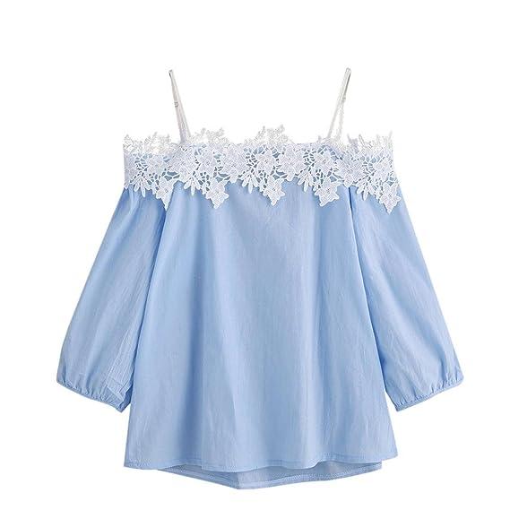Fossen 2018 Verano Mujer Blusas de Encaje Camisetas con Hombros Descubiertos Tops de Tirantes (S
