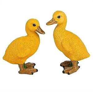 IFUNEYS Duck Figurine Garden Statue Outdoor Lawn Yard Decor, Fairy Garden Accessories (a Pair)
