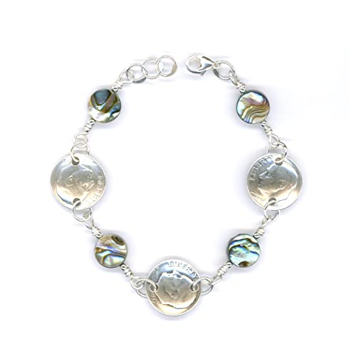 70th Birthday Gift For Women 1947 Dime Coin Paua Shell Bracelet Ideas Jewelry