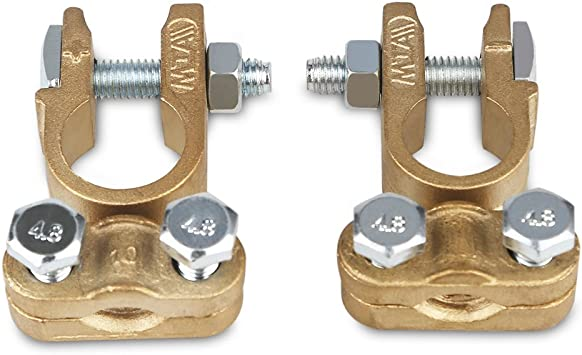 WATERWICH Heavy Duty Car Battery Terminals Connectors Clamps Set Positive /& Negative Universal Battery Cable Terminal Adapter for Ship Boat Marine Yacht RV Camper Truck Vehicle Battery Terminal Set