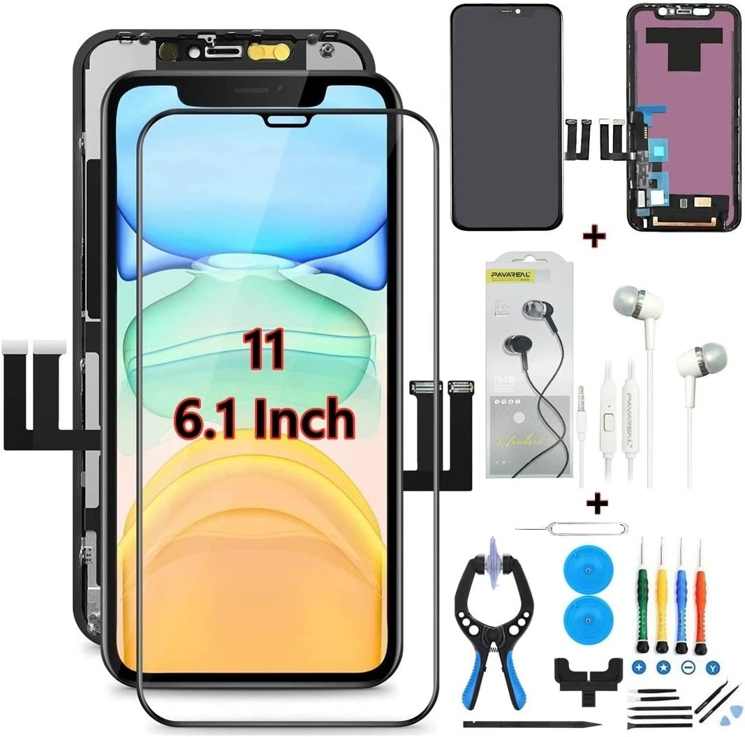 Replacement Cell Phone Screens for iPhone 11 Screen Replacement 6.1 Inch LCD Display with Free Complete Tempered Screen Protector Repair Tools Kit and Earbud Headphones GOODWST (Black)