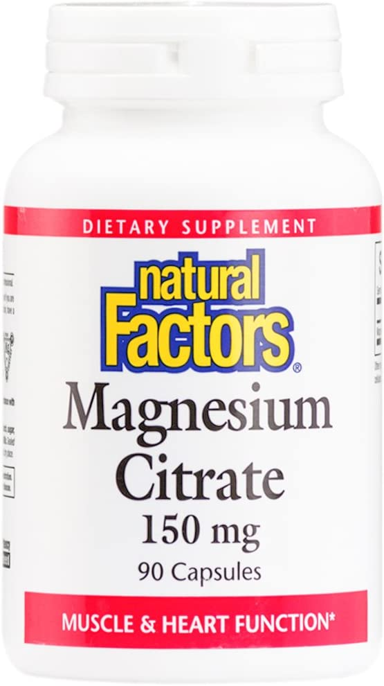Natural Factors, Magnesium Citrate 150 mg, Supports Healthy Heart Heart and Muscle Function, 90 capsules (90 servings)