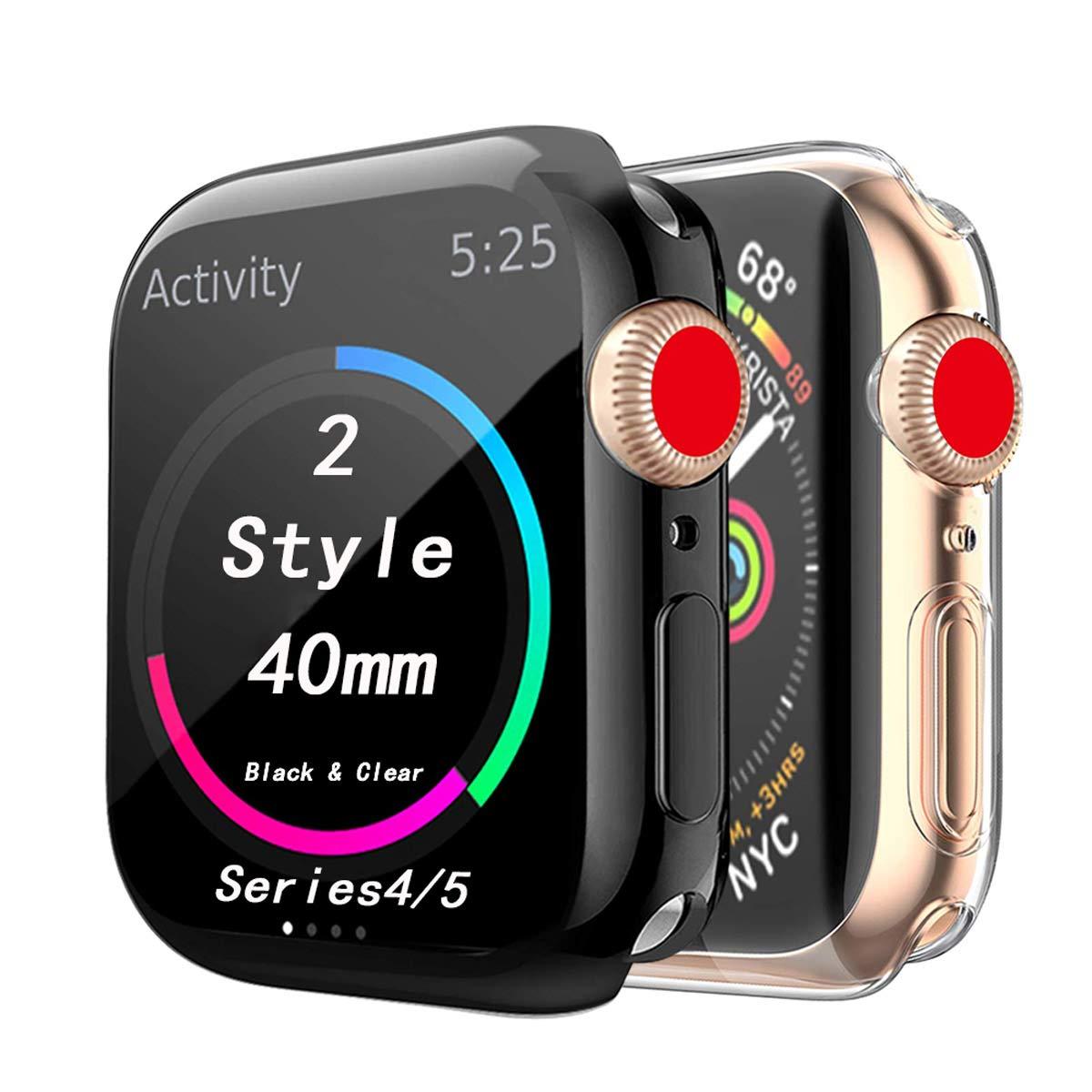 Cerike Compatible Apple Watch Series 4 Protector de Pantalla, Funda Protectora Suave y Completa para iWatch 4 Apple Watch Serie 4 Smartwatch (40MM, ...