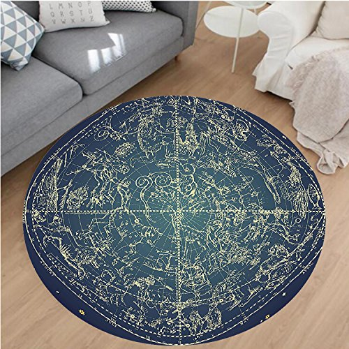 10' Circular Chart (Nalahome Modern Flannel Microfiber Non-Slip Machine Washable Round Area Rug-tage Zodiac Chart Constellation of Northern Stars Sacred Astrology Image Dark Blue Yellow area rugs Home Decor-Round 24