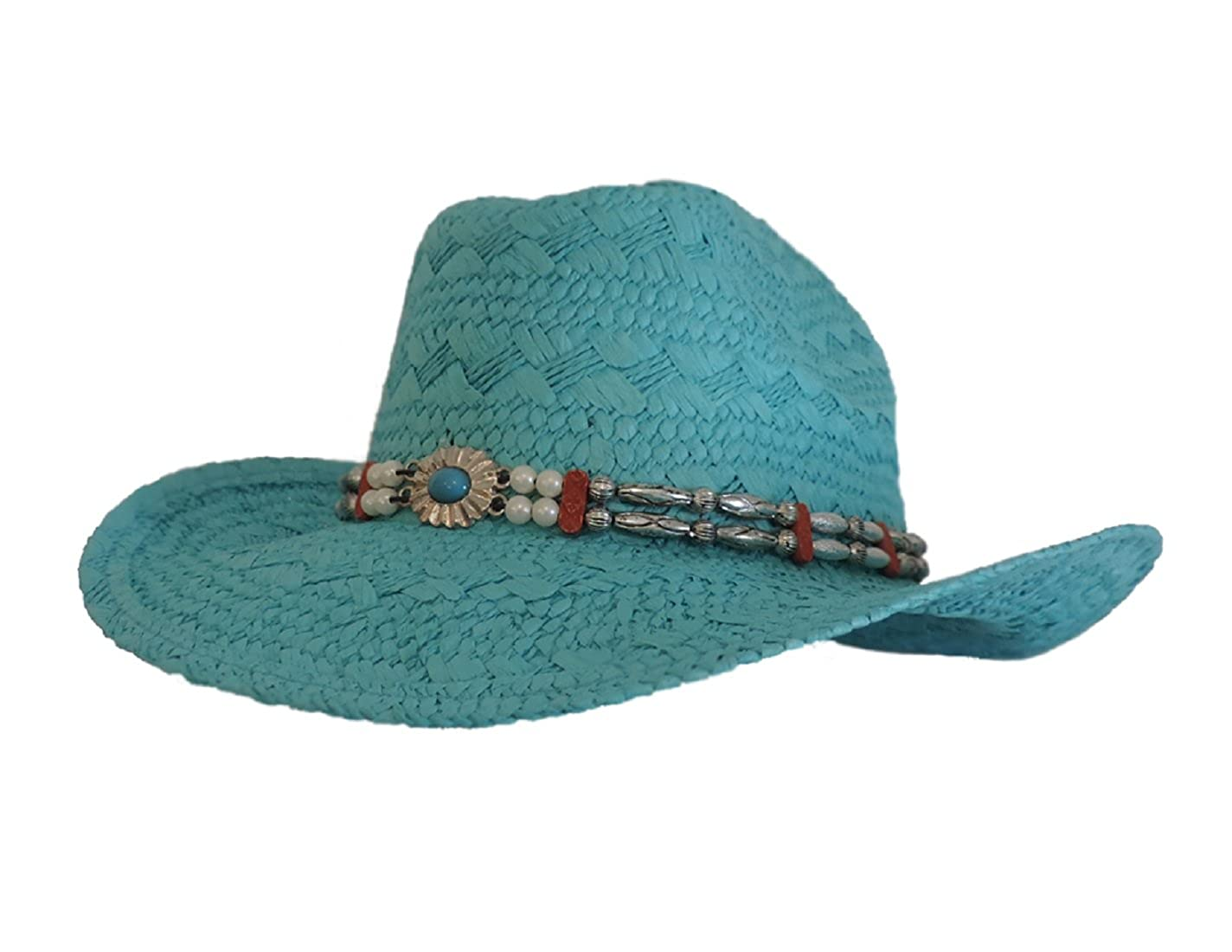 Cowboy Western Toyo Hat Turquoise with Beaded Hat Band