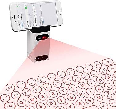BESTSUGER Teclado Virtual, Teclado de proyección Bluetooth con Soporte para teléfono y Teclado inalámbrico Virtual QWERTY para PC iPad Smartphone