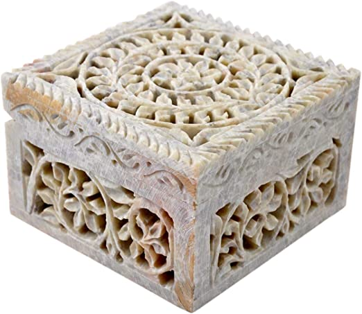 Caja Decorativa de Almacenamiento de esteatita Natural con diseño de Flores talladas. De Hashcart, Piedra, Style 4: Amazon.es: Hogar