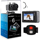 AKASO Brave 6 4K 20MP WiFi Action Camera Voice Control EIS 30m Underwater Waterproof Camera Remote Control 6X Zoom Underwater Camcorder with 2 Batteries and Helmet Accessories Kit