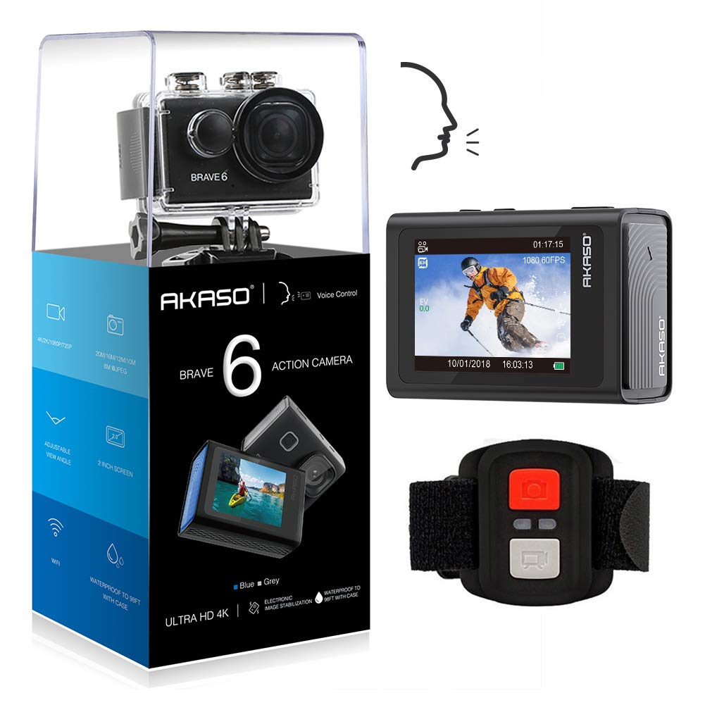 AKASO Brave 6 4K 20MP WiFi Action Camera Voice Control EIS 100 feet Underwater Waterproof Camera Remote Control 6X Zoom Underwater Camcorder with 2 Batteries and Helmet Accessories Kit by AKASO