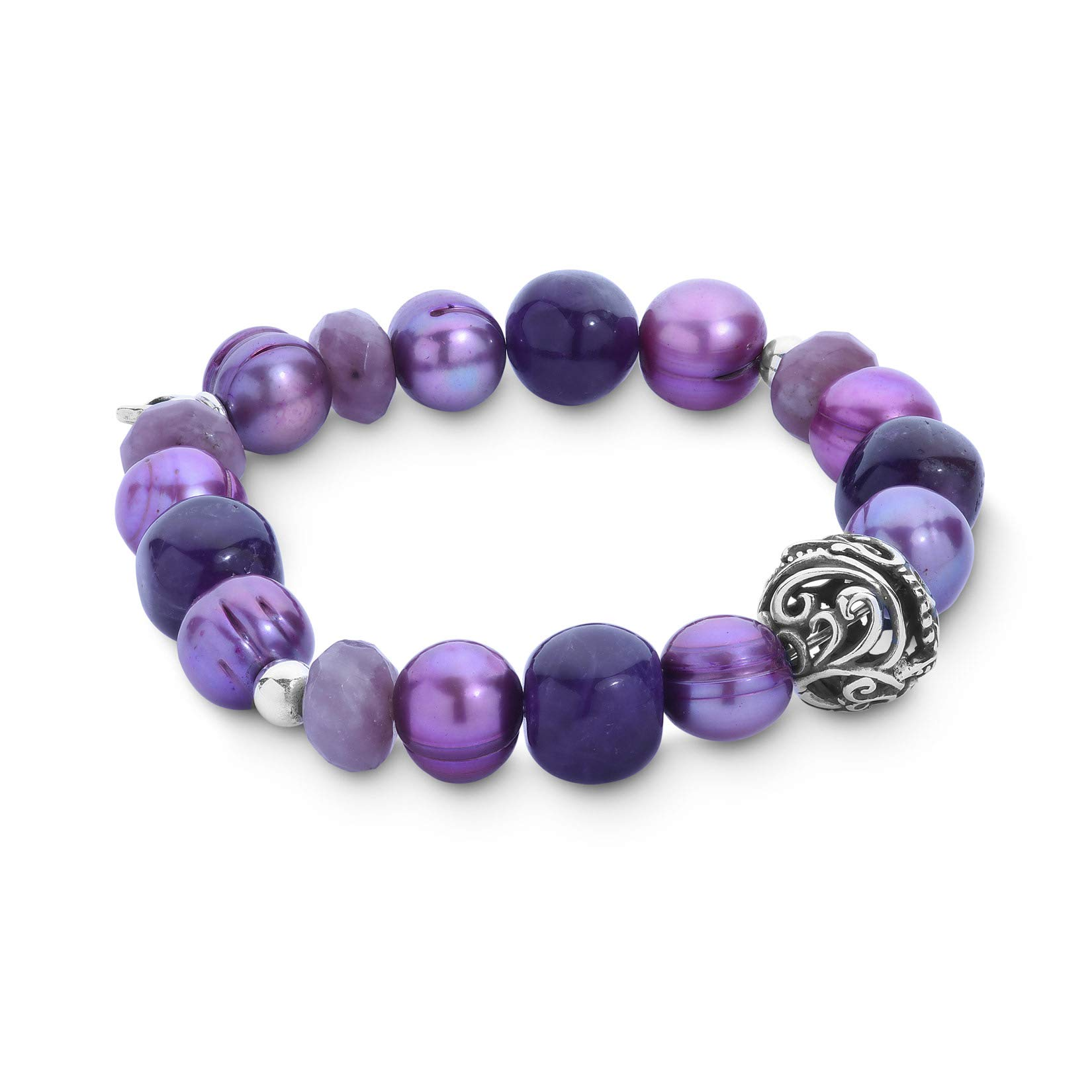 Carolyn Pollack Sterling Silver Shades of Purple Amethyst, Jade & Freshwater Cultured Pearl Stretch Bracelet - Medium to Large