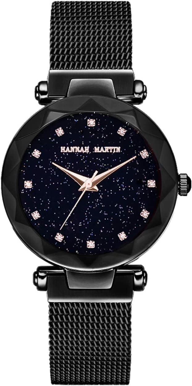 Hannah Martin SMAEL Relojes electrónicos magnéticos Impermeables Relojes de Pulsera para Las Mujeres con Movimiento de Japón,Black