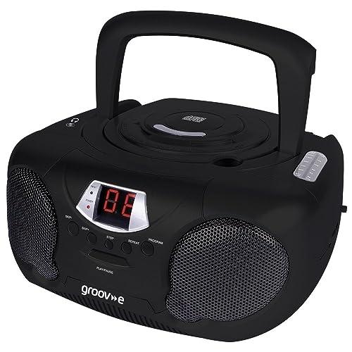 Groov-e Boombox Portable CD Player with Radio & Headphone Jack - Black