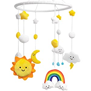 Rainbow Baby Mobile for Crib Nursery Mobile Weather Baby Crib Mobile Sun Cloud Moon Plush Ceiling Hanging Baby Shower Gifts Infant Little Girls Boys Nursery Room Bedroom Cot Meteorology Decors