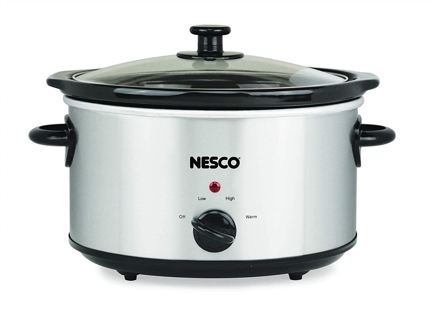 Nesco SC-4-25 4 Qt. Oval Analog Stainless Steel Slow Cooker 4 Quart Silver